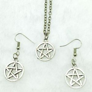 NEW PENTAGRAM STAR PENDANT NECKLACE EARRING SET